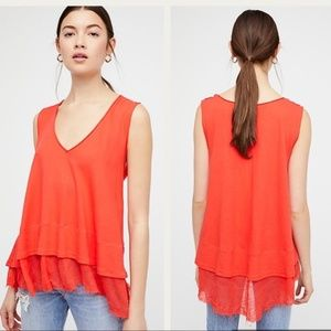 Free People Coral Red Peachy Oversized Layered Tee